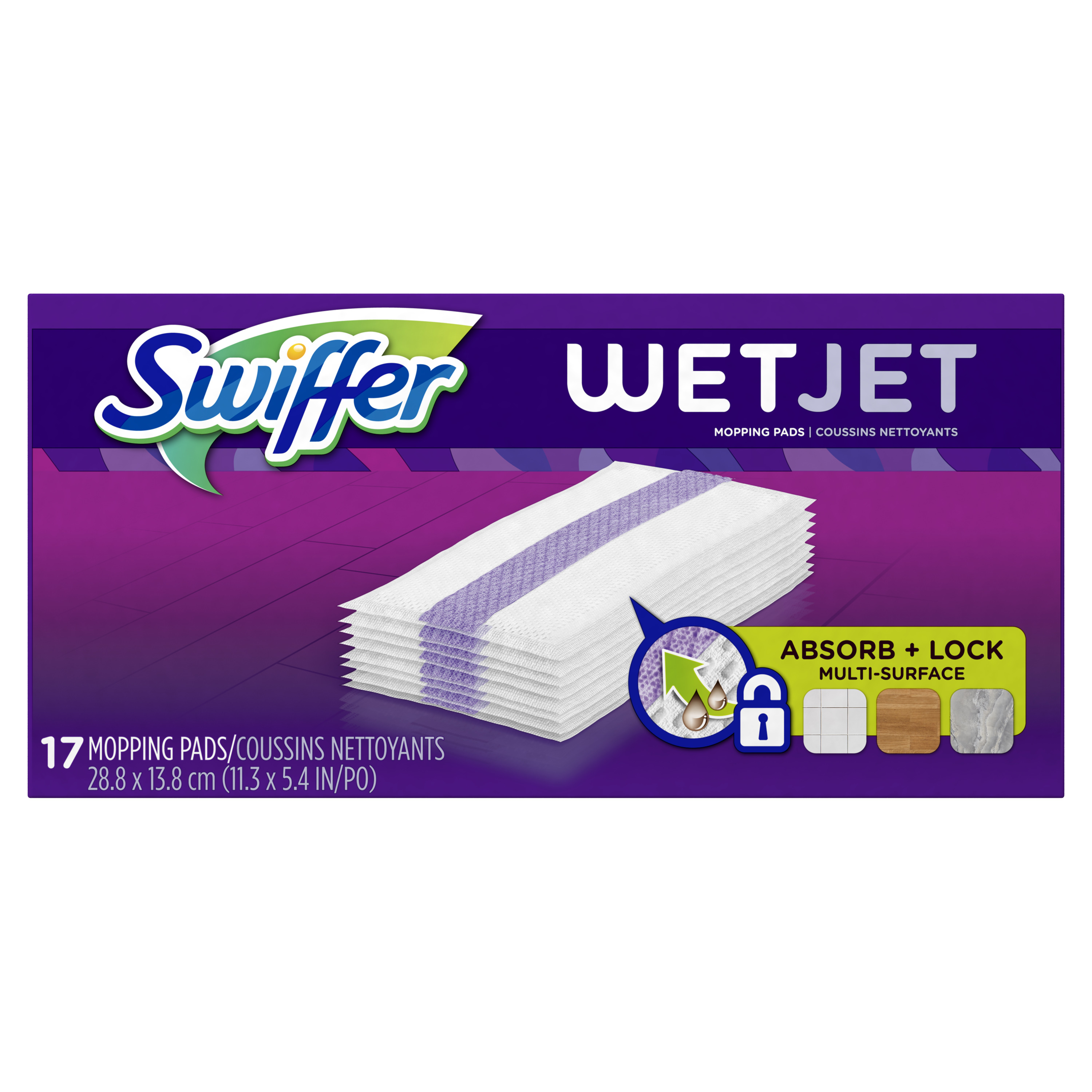 Swiffer WetJet Hardwood Floor Cleaner Spray Mop Pad Refill, Multi Surface, 17 Count