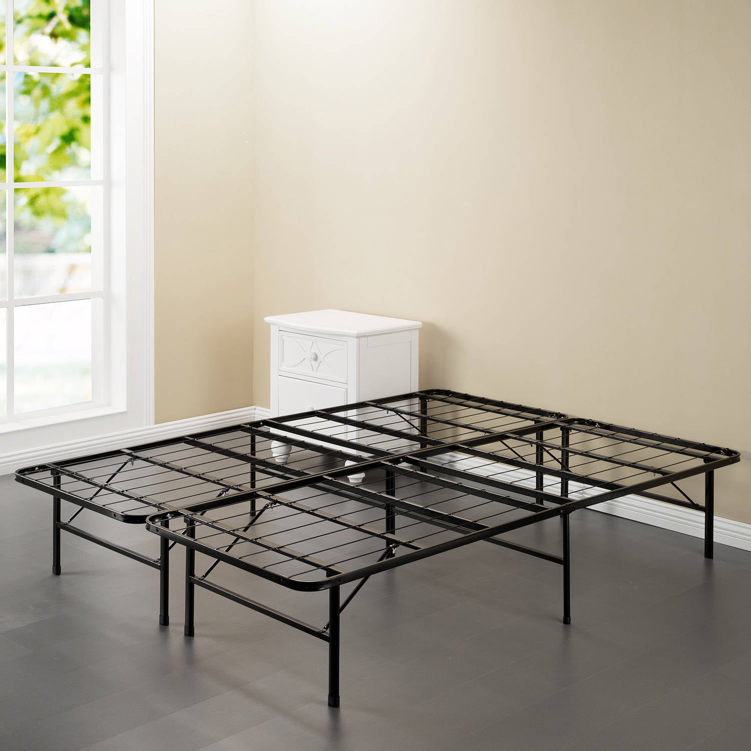 spa sensations steel smart base bed frame black multiple sizes walmartcom - Frame Bed
