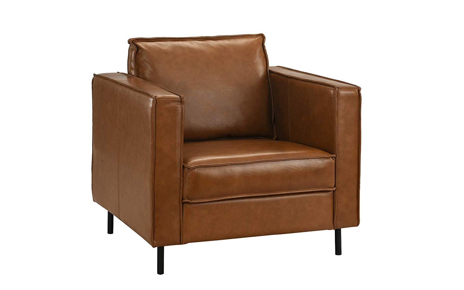 Picture of: Mid Century Living Room Leather Armchair Accent Chair Camel Brown Walmart Com Walmart Com