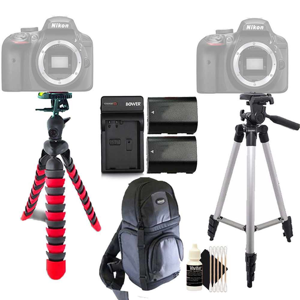Tall and Flexible Tripod with 2x Replacement LP-E10 Battery for Canon  EOS Rebel T3 T5 T6 1200D 1300D DSLR Camera