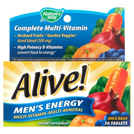 Alive! Mens Energy Multivitamin Supplements Fruit and Veggie Blend 50 (Best Men's Energy Supplement)