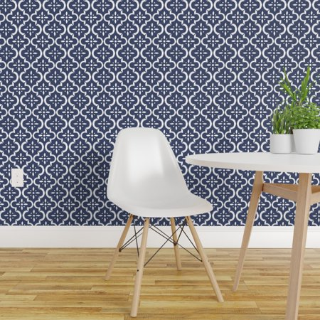 Wallpaper Roll Blue Moroccan Tile Navy Ikat Floral Trellis 24in x 27ft