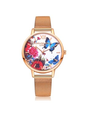 Product Image Christmas Clearance Butterfly Watch Dial Women Girl Round Quartz Watches Bracelet Alloy Fashion Wristwatch Gifts