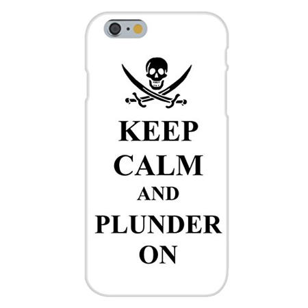 Apple iPhone 6+ (Plus) Custom Case White Plastic Snap On - Keep Calm and Plunder On Pirate Skull & Swords - Pirate Skull And Swords