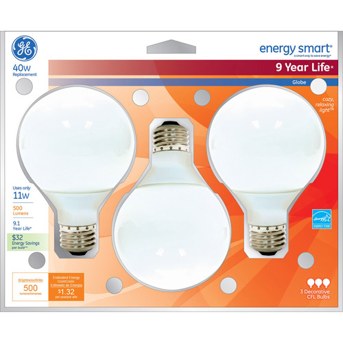 GE 11-Watt Energy Smart G25 Decorative CFL Bulb, 3-Pack