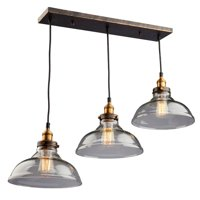 """Pendants 3 Light Bulb Fixture With Bronze and Copper Finish Metal & Clear Glass Medium 10"""" 300 Watts"""