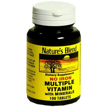 Mélange de nature multivitamines avec minéraux comprimés Non fer - 100 comprimés