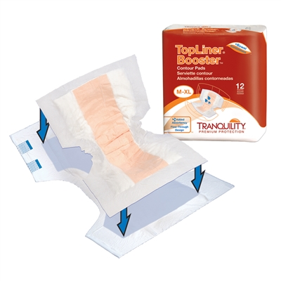 Tranquility TopLiner Booster Pad, 21.5 Inch, Heavy Absorbency, 3096 - Case of 120