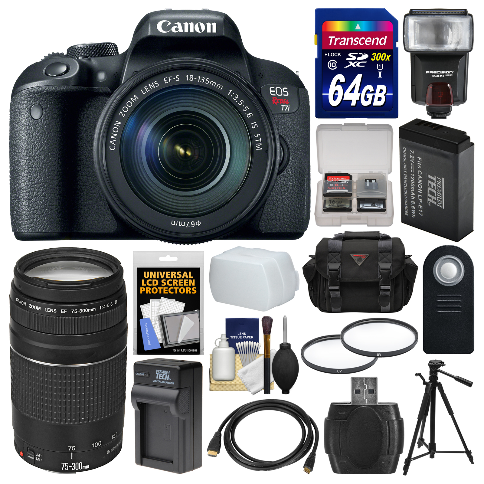 Canon EOS Rebel T7i Digital SLR Camera & EF-S 18-135mm IS STM + 75-300mm Lens + 64GB Card + Case + Flash + Battery &... by Canon
