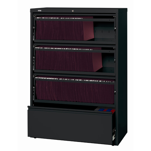 HL10000 Series 36-inch Wide 4-Drawer Lateral File Cabinet with Roll-Out Shelves, Black