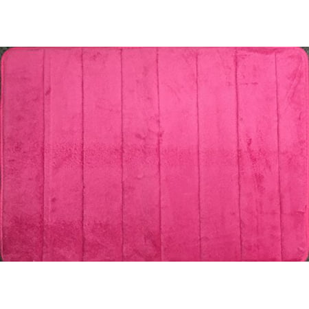 WPM'S Incredibly Soft and Absorbent Memory Foam Bath Mat, 17 By 24-inch (Pink)