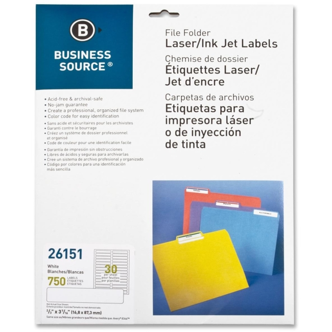 "Business Source Laser/Inkjet Perm. File Folder Labels - Permanent Adhesive - 0.67"" Width x 3.43"" Length - 30 / Sheet - Rectangle - Laser, Inkjet - White - 25 Sheet"