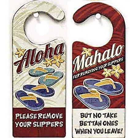 Islander Hawaiian Style Heavy Gauge Steel Door Sign Remove Your Slippers