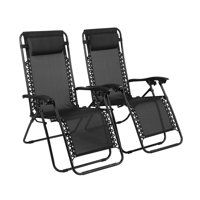 Zero Gravity Chairs, Lounge Patio Outdoor Recliner Chairs by Naomi Home-Color:Black,Quantity:Set of 2