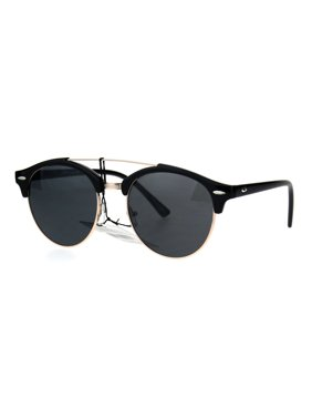 0a4068df2c2 Product Image Mens Retro Hipster Half Horn Wire Flat Top Round Sunglasses  Black Gold Black