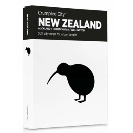 New Zealand Crumpled City Map (New Zealand Coat Of Arms)