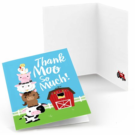 Farm Animals - Baby Shower or Birthday Party Thank You Cards (8 count)