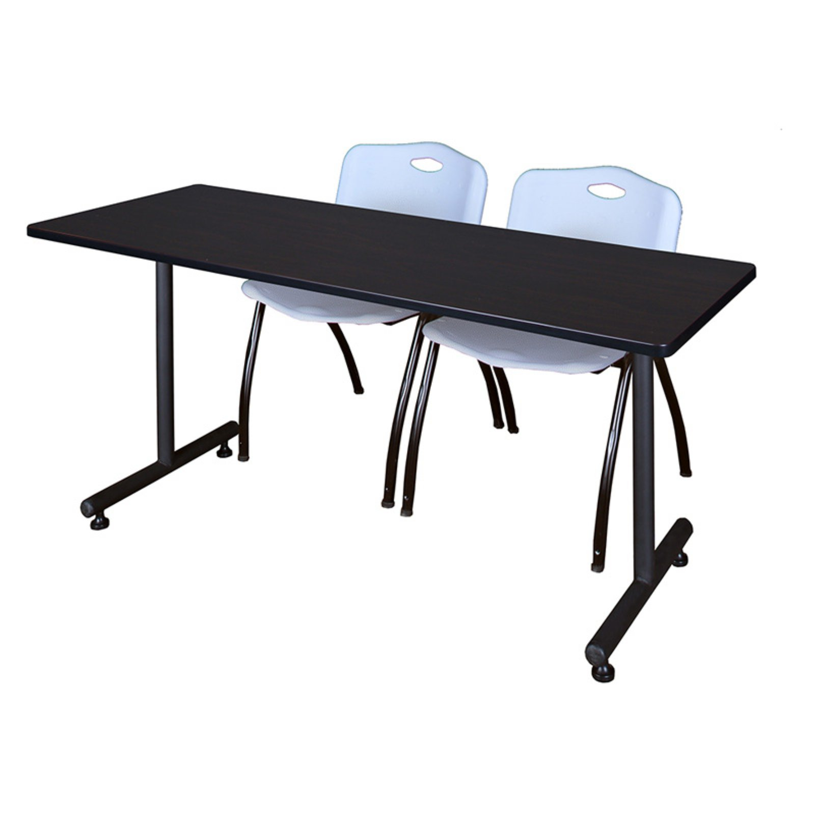 "Kobe 42"" x 24"" Mocha Walnut Mobile Training Table and 2 'M' Stack Chairs, Multiple Colors"