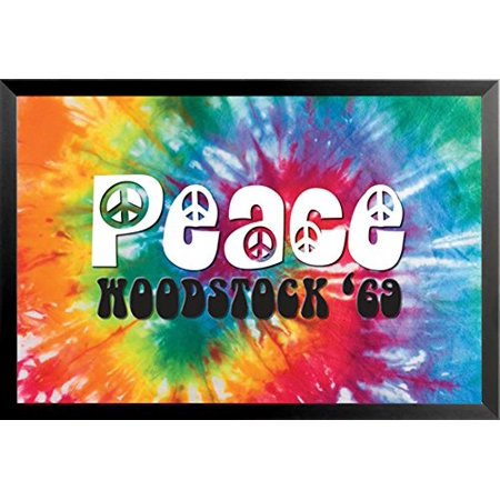 FRAMED Woodstock - Peace 69 Decorative Sign 36x24 Art Print Poster Music Festival Tie Dye Bright