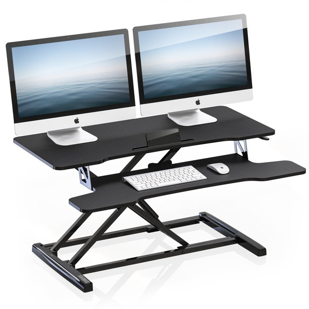FITUEYES Standing Desk Converter 36inch Stand Up Desk Tabletop Workstation for Dual Monitor Riser SD309101WB-T