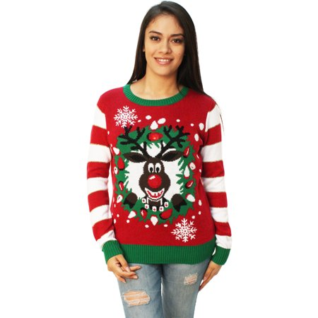 Light Up Christmas Sweater.Ugly Christmas Sweater Women S Rudolph Led Light Up Sweater