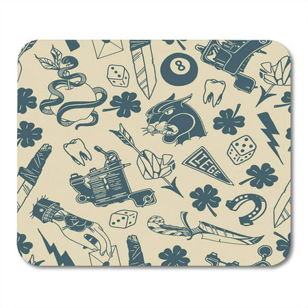 KDAGR Traditional Tattoo Designs Dice Clover Knife Lightning Bolt Panther Machine Tooth Snake Horseshoe Mousepad Mouse Pad Mouse Mat 9x10 inch