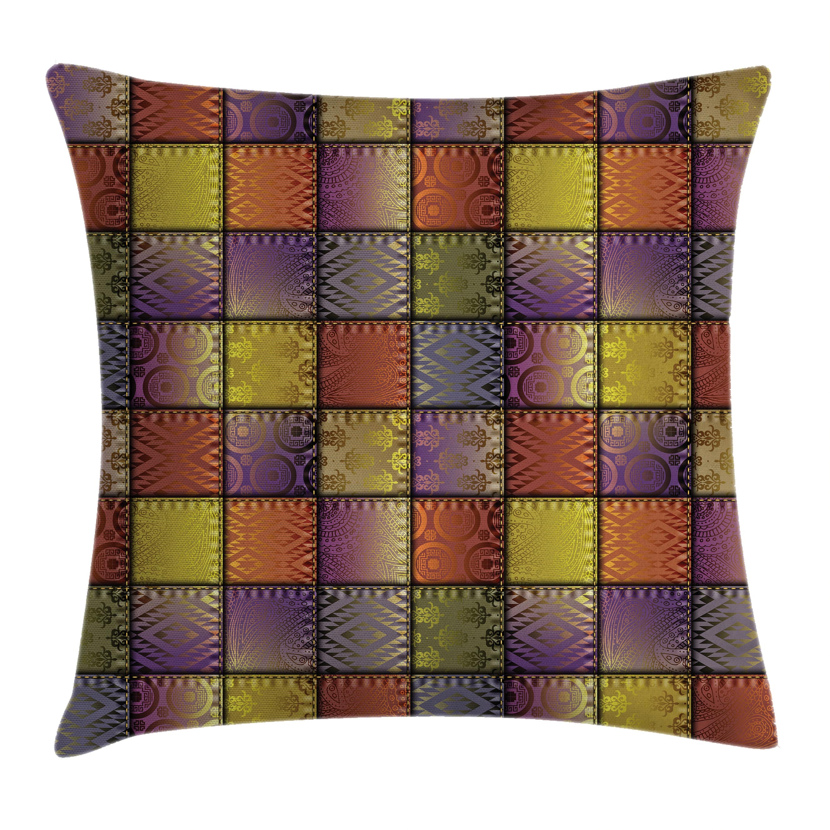 Fabric Throw Pillow Cushion Cover, Stitch-Like Digital Mix Motif with Inner Triangle Round Shapes Image, Decorative Square Accent Pillow Case, 16 X 16 Inches, Purple Gold and Cinnamon, by Ambesonne