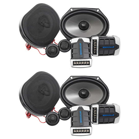 2 Pairs Rockville RV68.2C 6x8/5x7 Component Car Speakers 1800 Watts/340w RMS (Best 5x7 Component Speakers)