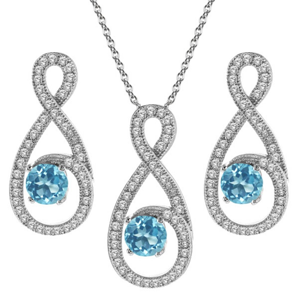 3.60 Ct Round Swiss Blue Topaz 925 Silver Pendant Earrings Set by