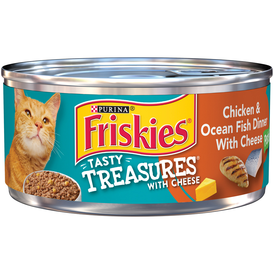 Friskies Tasty Treasures Chicken & Ocean Fish Dinner with Cheese Pate Wet Cat Food, (24) 5.5 oz. Cans