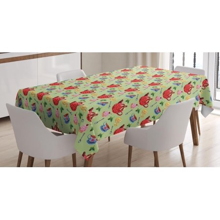 Tea Tablecloth, Classic Teapot with Polka Dots Ceramic Cupcake Lemon Mint British Victorian Pastel, Rectangular Table Cover for Dining Room Kitchen, 52 X 70 Inches, Multicolor, by