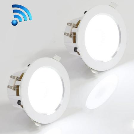 Pyle PDICBTL35 - 3.5'' Bluetooth Ceiling / Wall Speaker Kit, 2-Way Aluminum Frame Speakers with Built-in LED