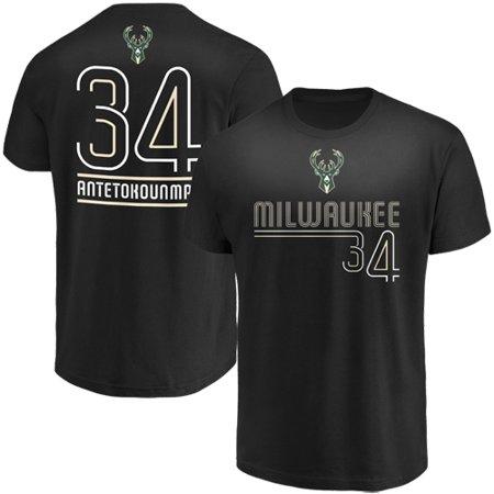 Giannis Antetokounmpo Milwaukee Bucks Majestic Spirited Competitor Player Name & Number T-Shirt - (Milwaukee Mall)
