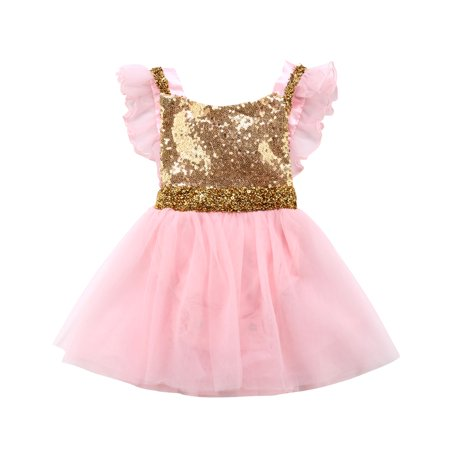 Newborn Girl Baby Sequin Bow Princess Romper Dress Birthday Party Wedding Tutu Dress Princess](Newborn Baby Girl Party Dresses)