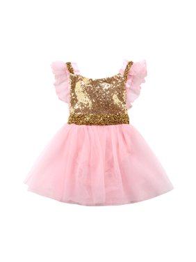 6e7860b0d81 Product Image Newborn Girl Baby Sequin Bow Princess Romper Dress Birthday  Party Wedding Tutu Dress Princess