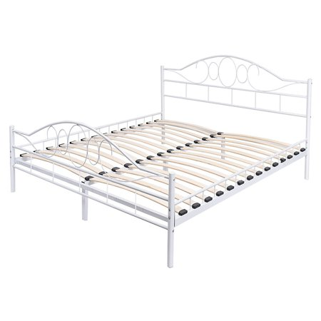 Contemporary Steel Bed - Costway Queen Size Wood Slats Steel Bed Frame Platform Headboard Footboard  White