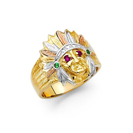 Tri-color 14K Solid Yellow Gold Thick 18mm Cubic Zirconia Men's Native  American Ring, Size 11