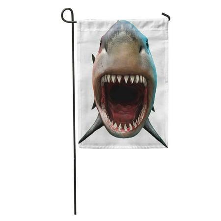 LADDKE Bite Shark Biting 3D Front Teeth Megalodon Attacking Big Carnivore Garden Flag Decorative Flag House Banner 12x18 inch