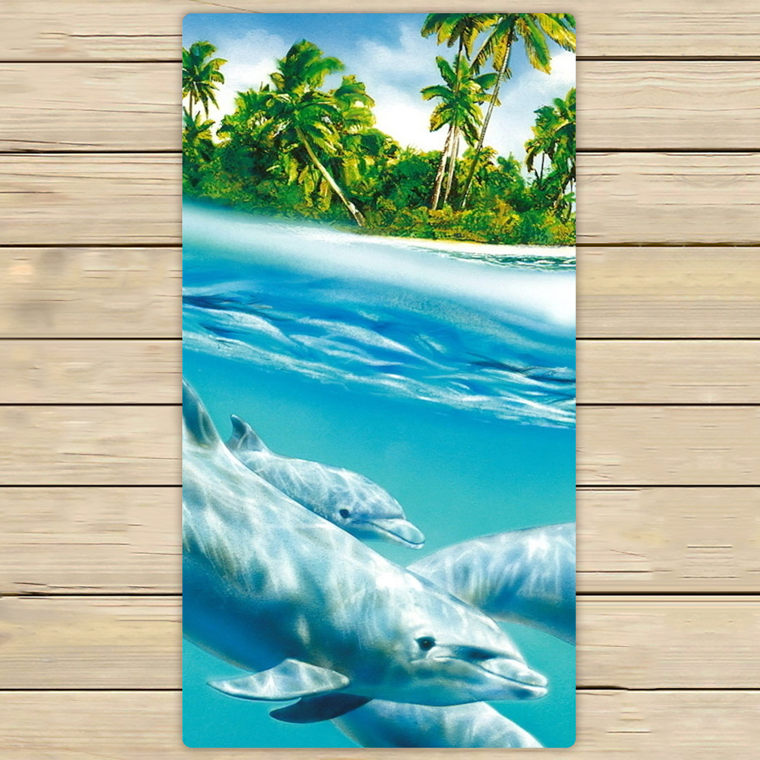 YKCG Underwater Dolphins Family Funny Sea Animals Hand Towel Beach Towels Bath Shower Towel Bath Wrap For Home Outdoor Travel Use 30x56 inches