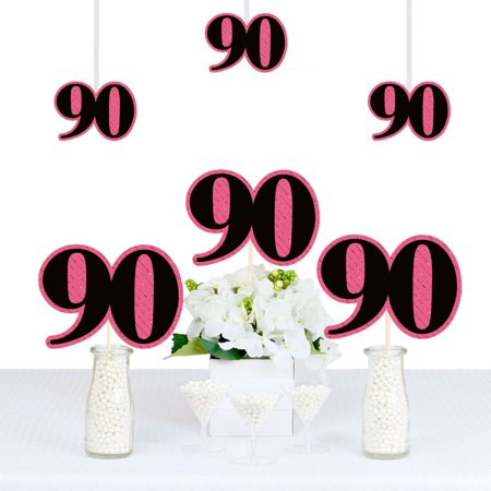 Chic 90th Birthday - Pink, Black and Gold - Decorations DIY Party Essentials - Set of 20 (Black And Gold Birthday)