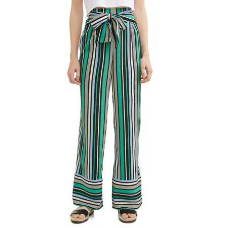 Juniors' Striped Tie Front Woven Wide Leg Pants