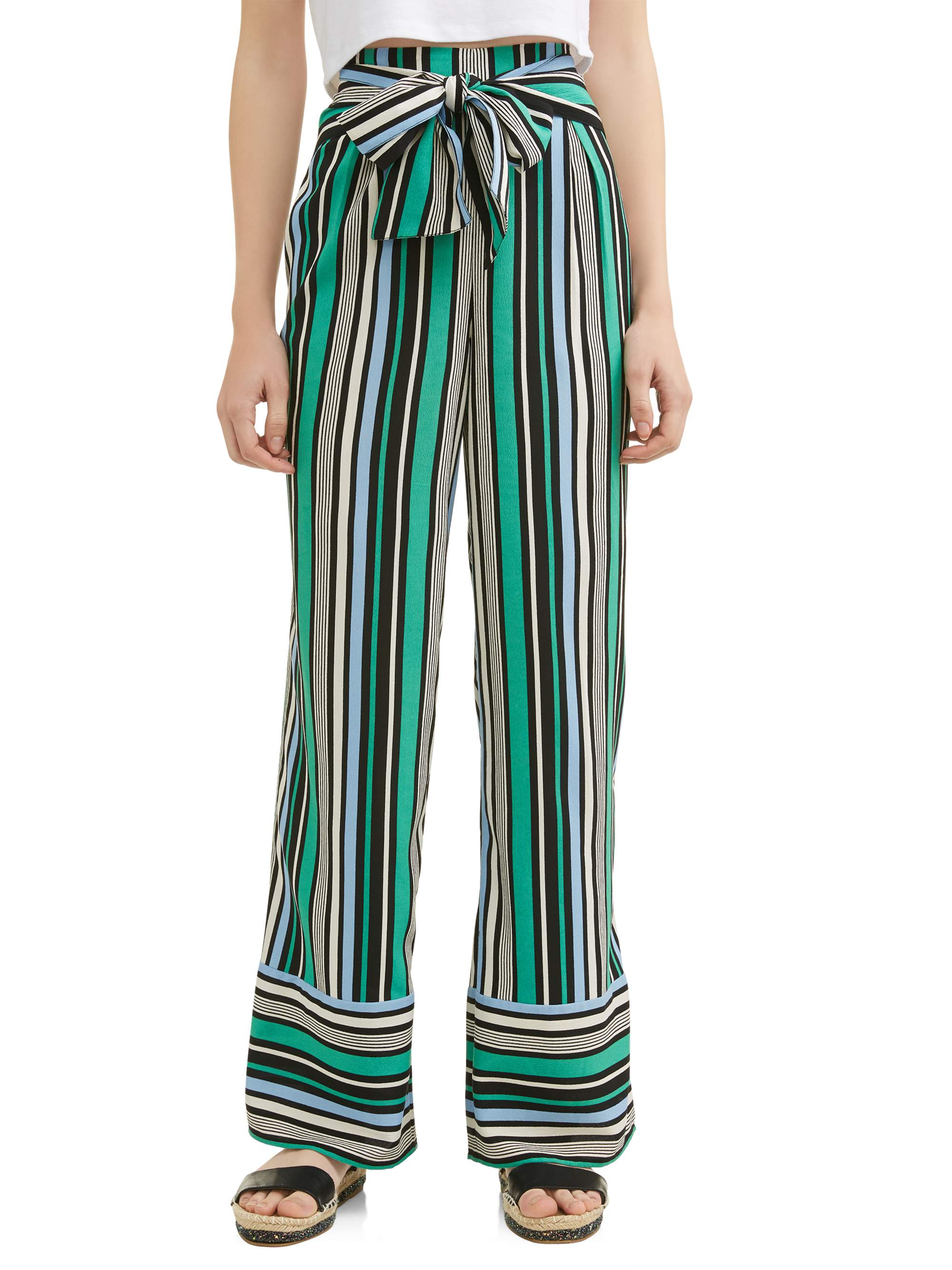 Juniors' Striped Tie Front Woven Wide Leg Pants