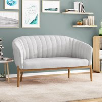 Noble House Nickolas Mid Century Fabric Loveseat, Mity Gray
