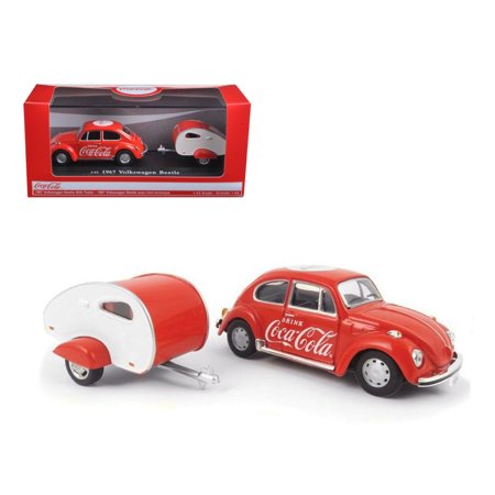 1967 Volkswagen Beetle Coca Cola with Teardrop Trailer 1/43 Diecast Model Car by Motorcity
