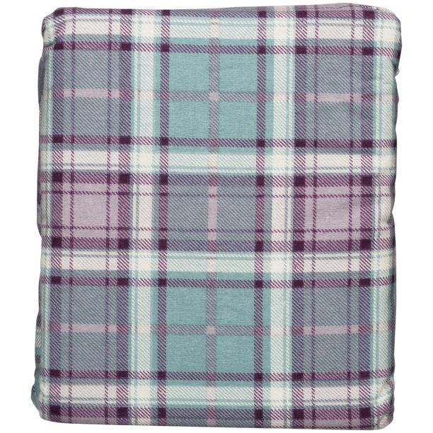 Mainstays Flannel Sheet Set Aquafier Plaid Walmart Com Walmart Com