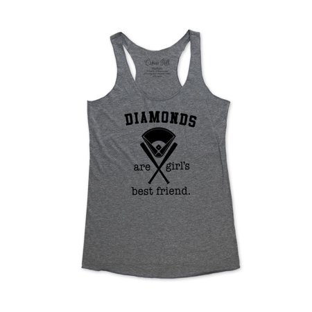Diamonds are girl's best friend. - wallsparks Crown Hill Brand - funny workout Bridal shower party tank top - Soft Tri-Blend Racerback Tank for