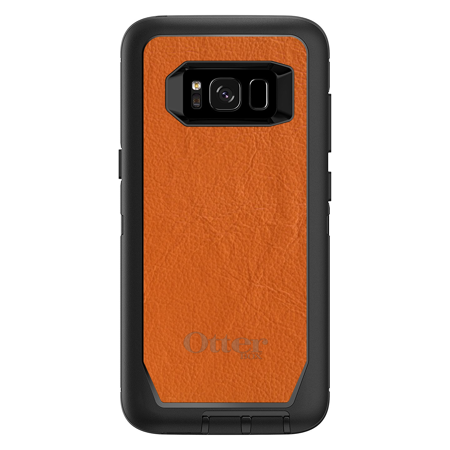 "DistinctInk™ Custom Black OtterBox Defender Series Case for Samsung Galaxy S8 (5.8"" Screen) - Orange Leather Print Design"