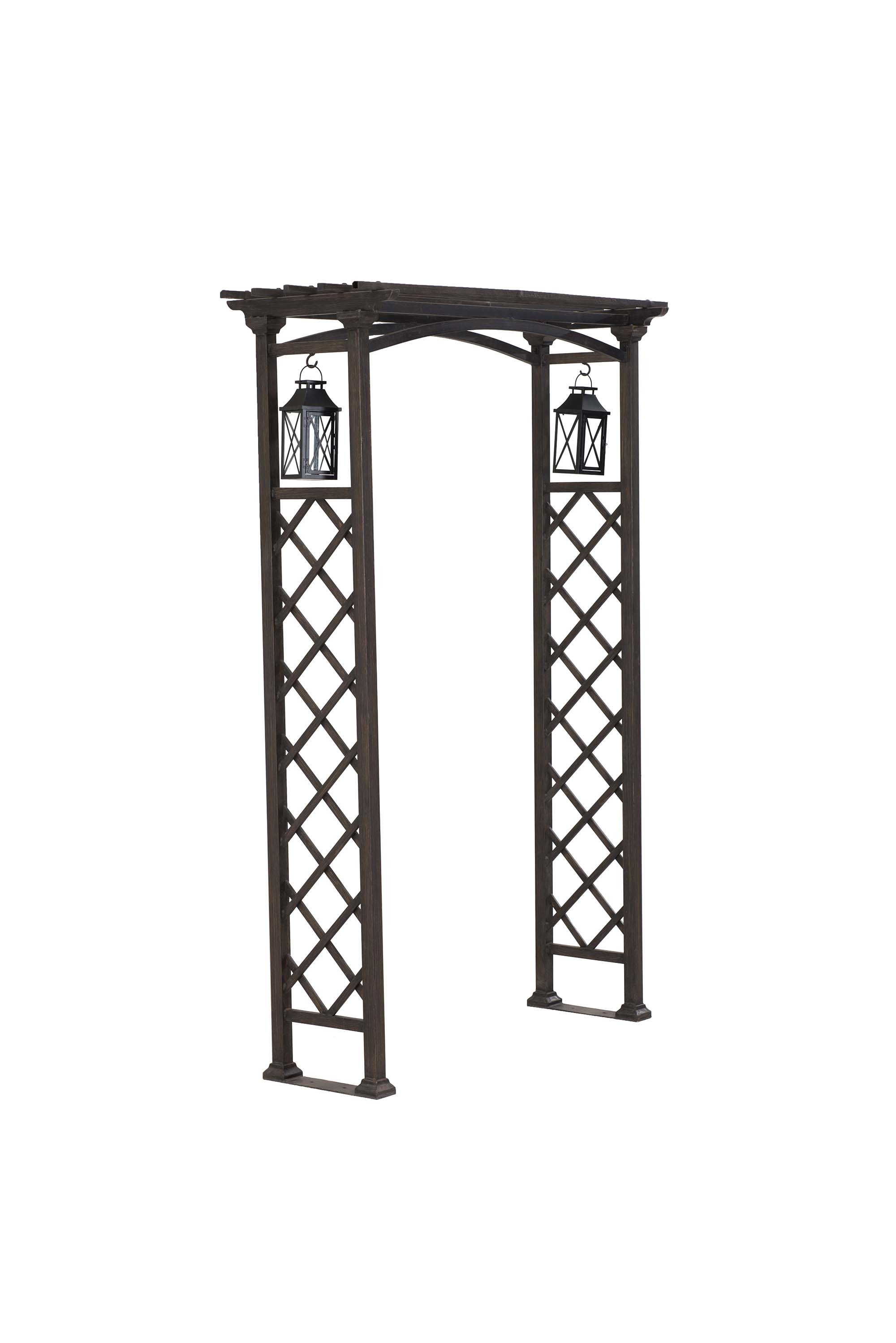 Metal Arbor With Lantrens by Sunjoy