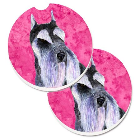 Carolines Treasures SS4753-PKCARC Pink Schnauzer Set of 2 Cup Holder Car Coaster - image 1 of 1