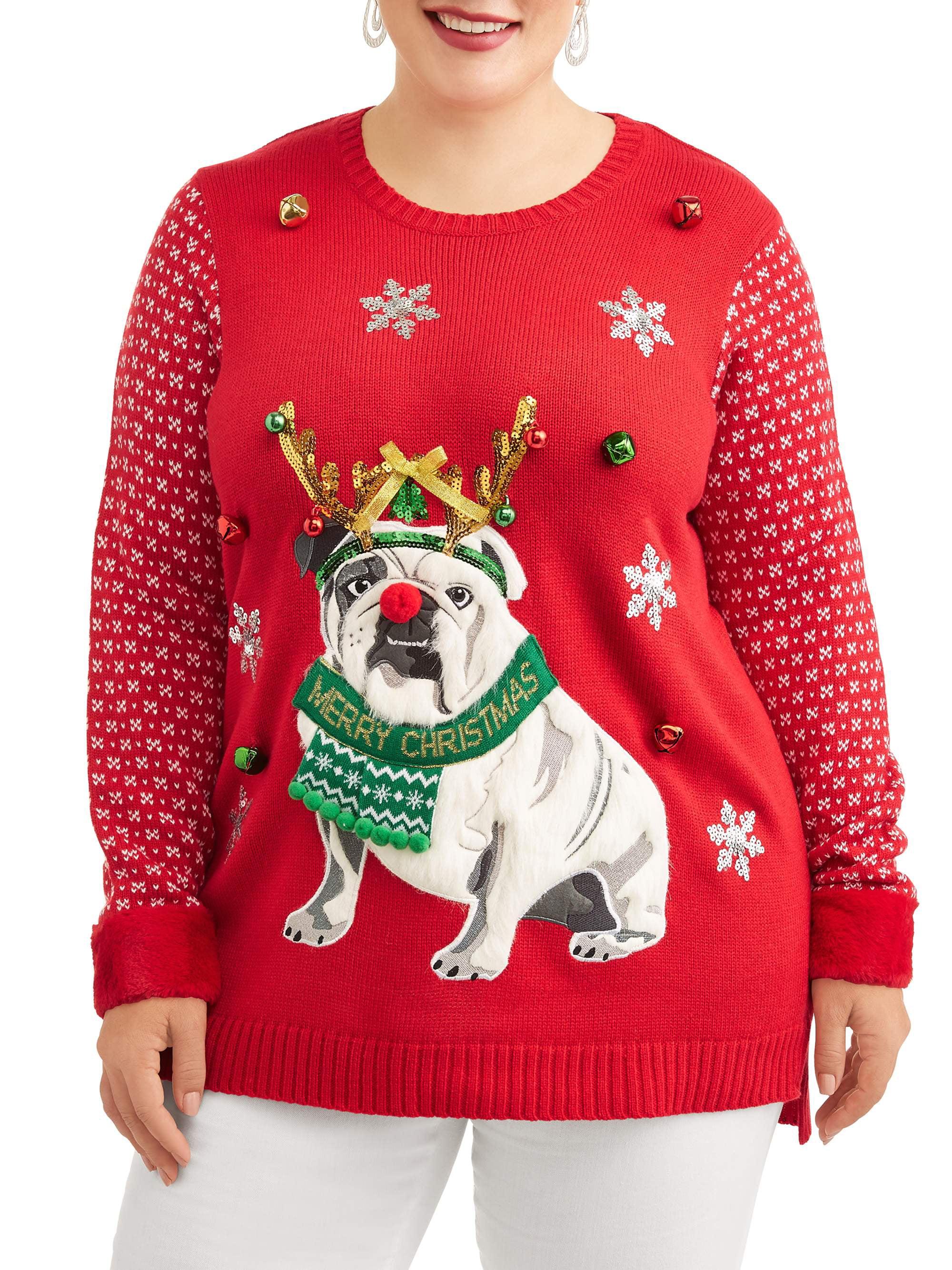 French Bulldog Christmas Jumper.Holiday Time Women S Plus Bulldog Christmas Sweater